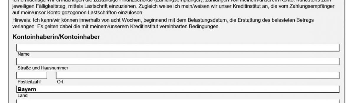 SEPA Einzugsermächtigung Finanzamt Bayern