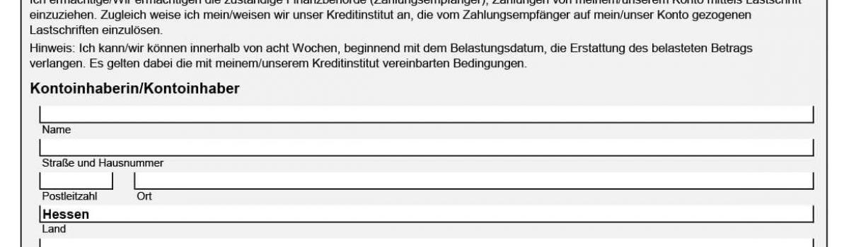 SEPA Einzugsermächtigung Finanzamt Hessen