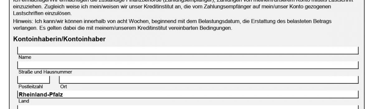SEPA Einzugsermächtigung Finanzamt Rheinland-Pfalz