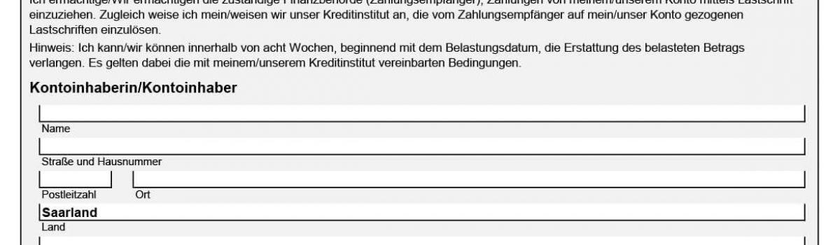 SEPA Einzugsermächtigung Finanzamt Saarland