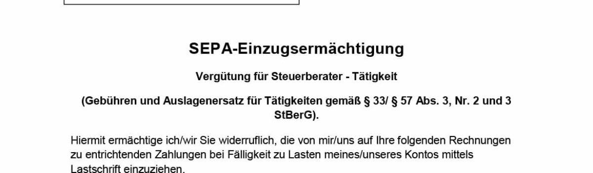 SEPA Einzugsermächtigung Kanzlei